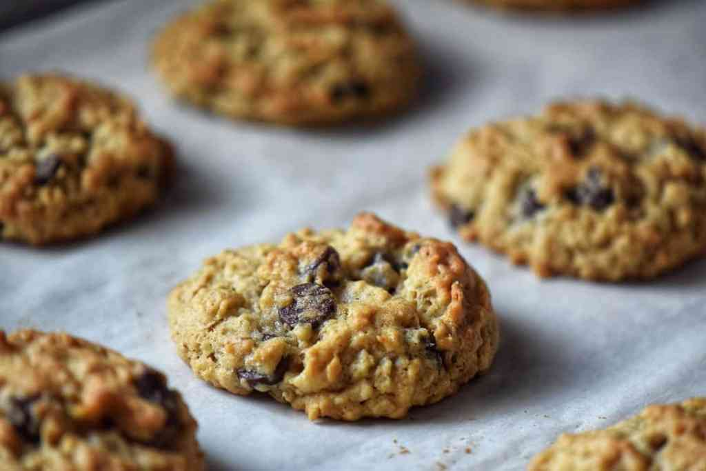 Freshly baked Thick and Chewy Oatmeal Chocolate Chip Cookies.