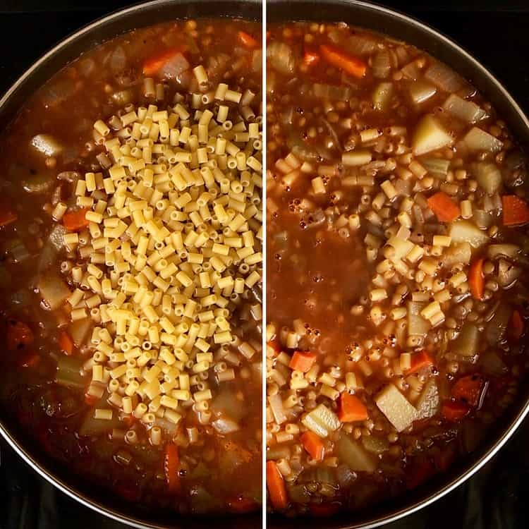 The addition of pasta to the pasta and lentils recipe.