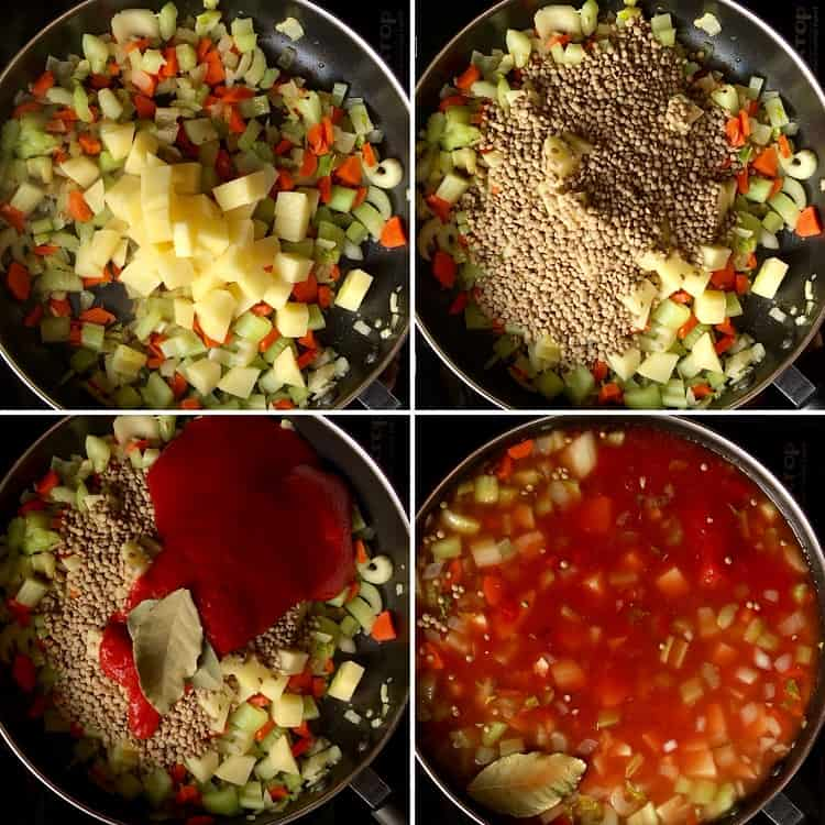 Step by step procedure for this Easy Pasta and Lentils Recipe.