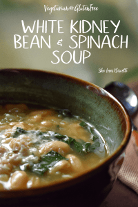 A big bowl of Easy White Kidney Bean and Spinach Soup.