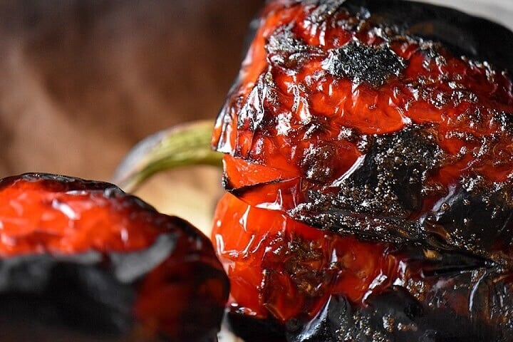 The charring of roasted red peppers.