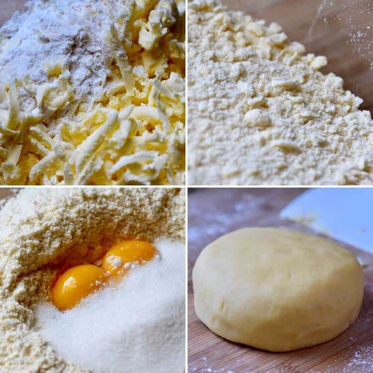A collage of 4 pictures to make the pastry dough for the chocolate tart.