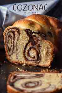 A sliced cozonac loaf with chocolate nutty swirls.