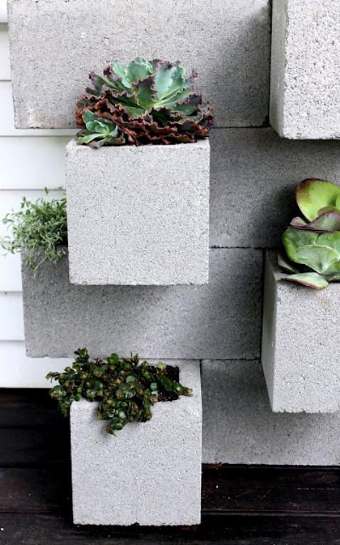 Concrete blocks as garden pots