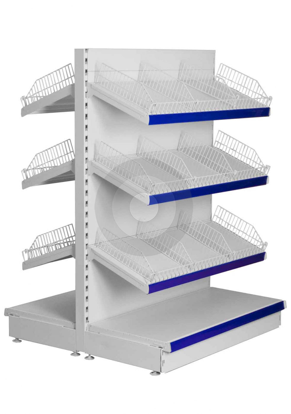 Low Gondola Shelving With Wire Risers And Dividers