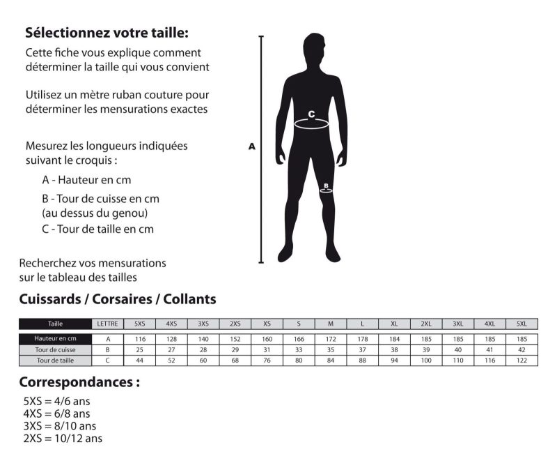 Guide des tailles cuissard cycliste