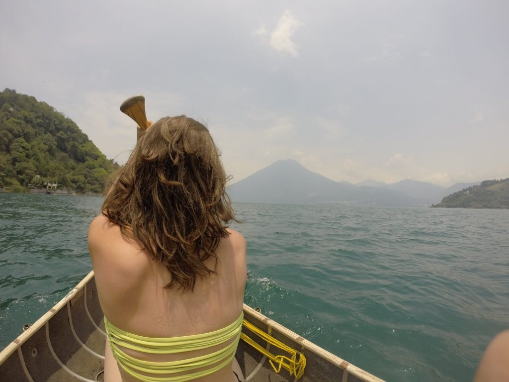 canoeing Lake Atitlan guatemala