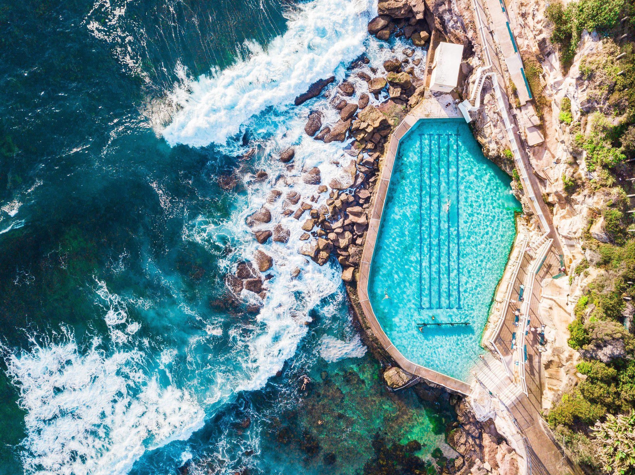 ocean pool australia aerial view