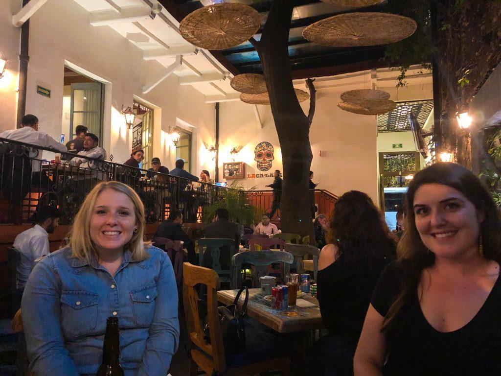 two women dining at la calaca restaurant mexico city
