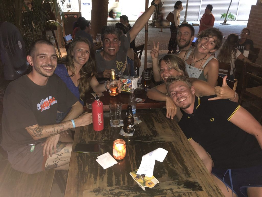 freediving instructor and friends having drinks
