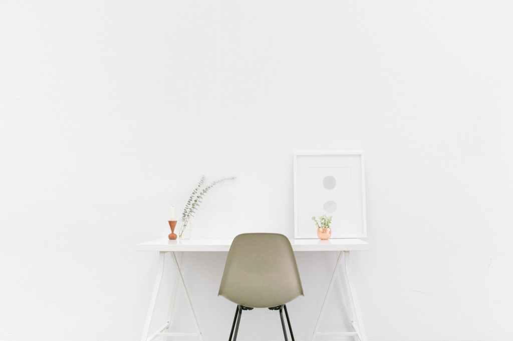 minimalist style desk setup