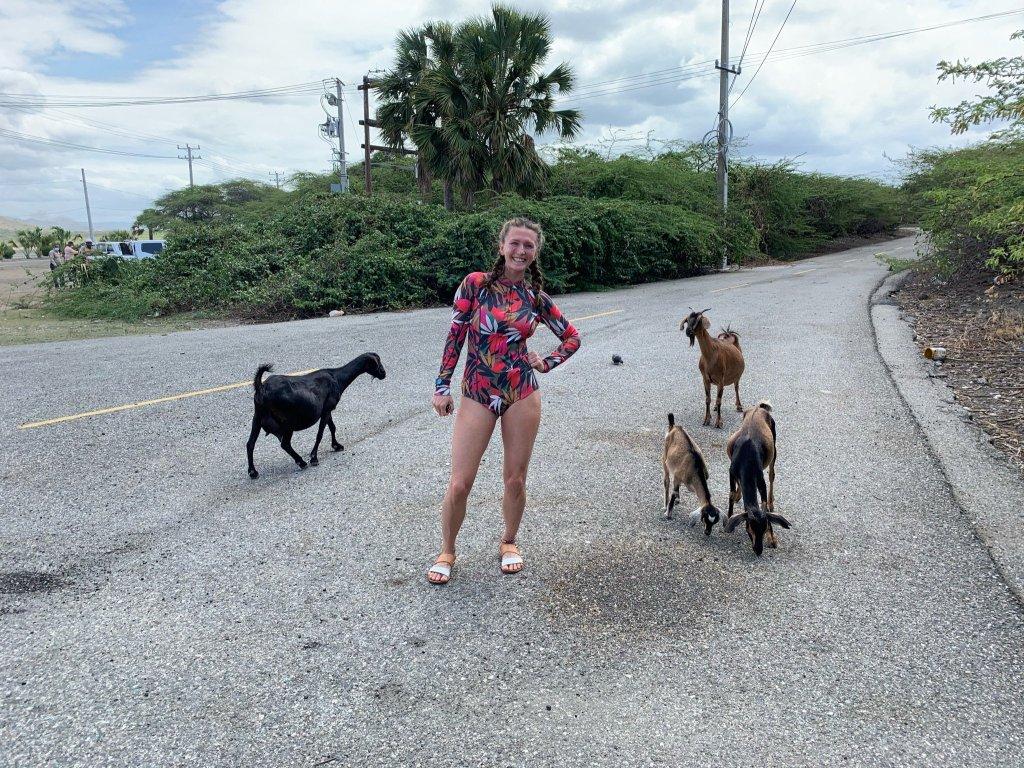 woman with goats salinas de bani dominican republic