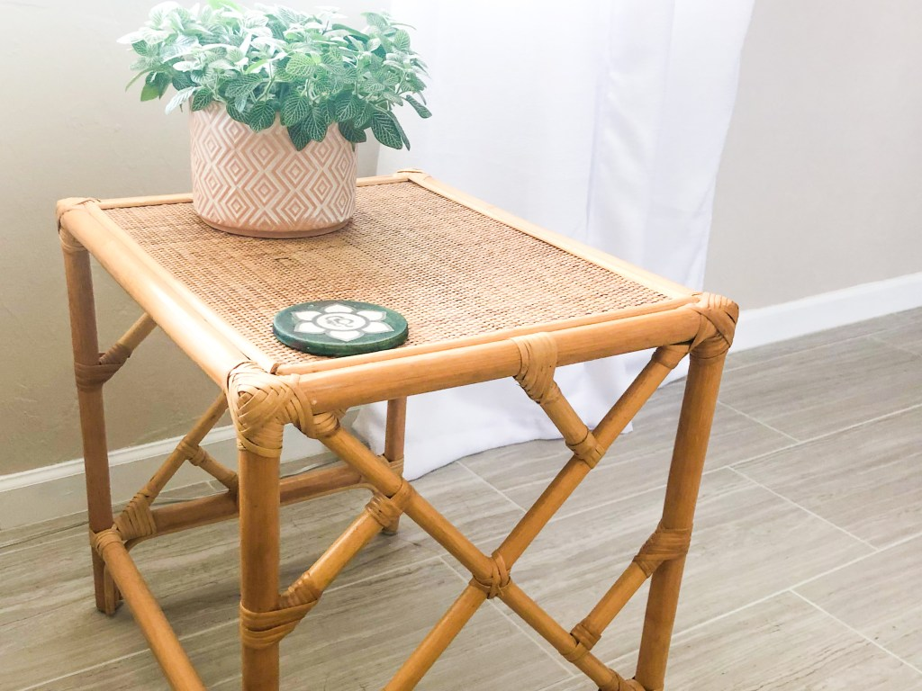 thrifted boho chic end table