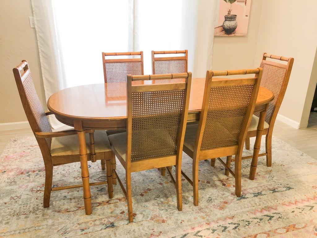 thrifted boho rattan dining set