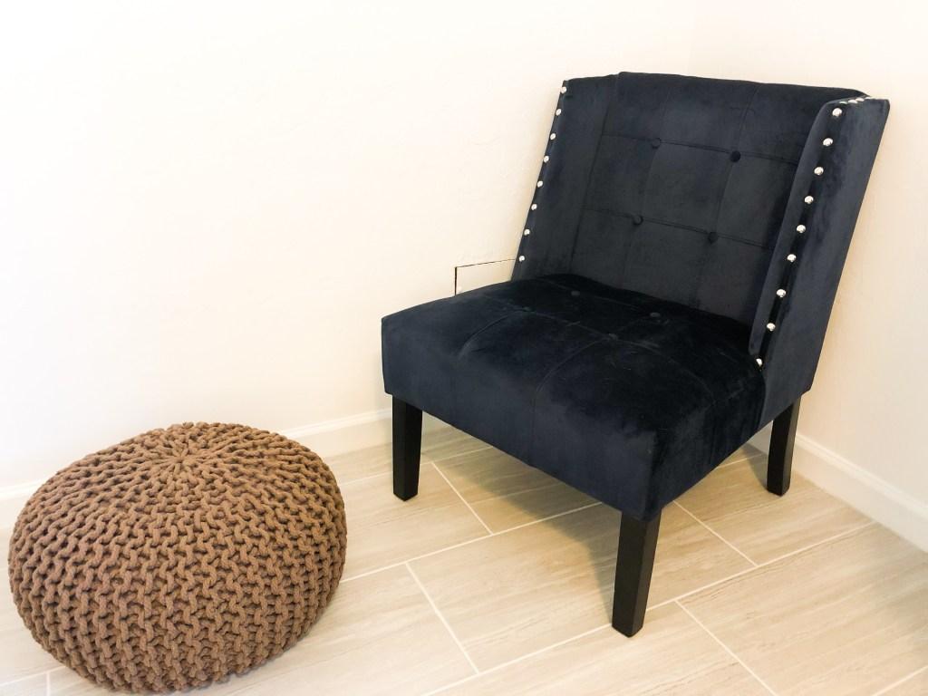 second-hand velvet chair