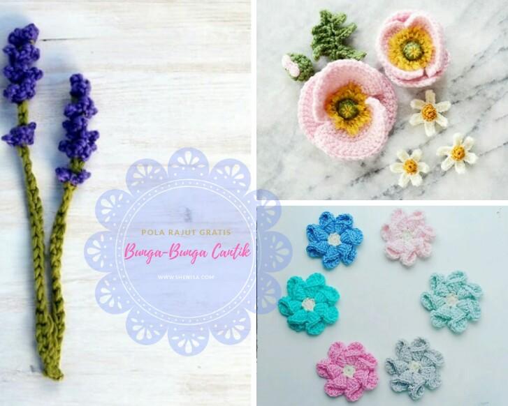 pola rajut bunga gratis crochet