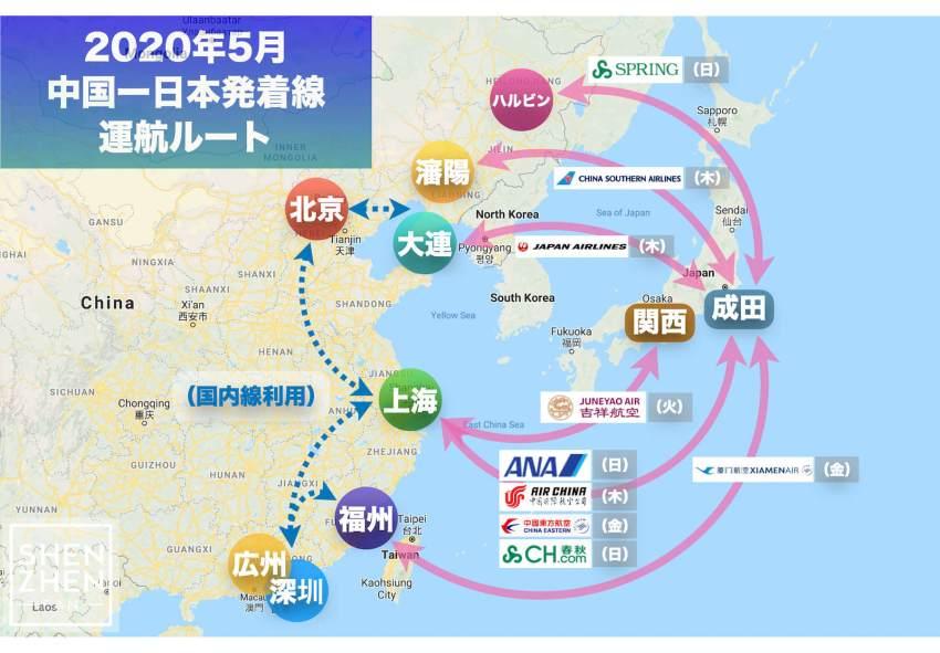 【2020年5月版】中国発着 国際便運航スケジュール・発着ルート