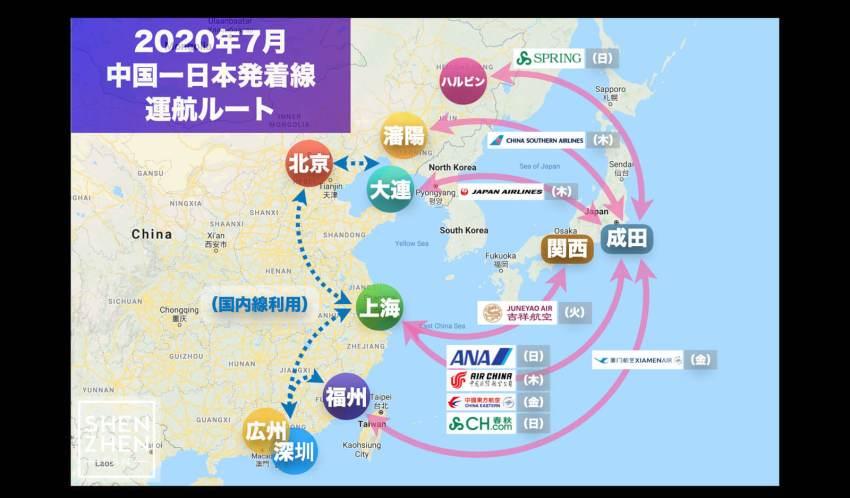 【2020年7月版】中国発着 国際便運航スケジュール・発着ルート