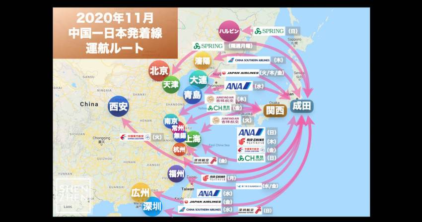 【2020年11月版】中国発着 国際便運航スケジュール・発着ルート