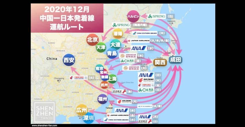 【2020年12月版】中国発着 国際便運航スケジュール・発着ルート