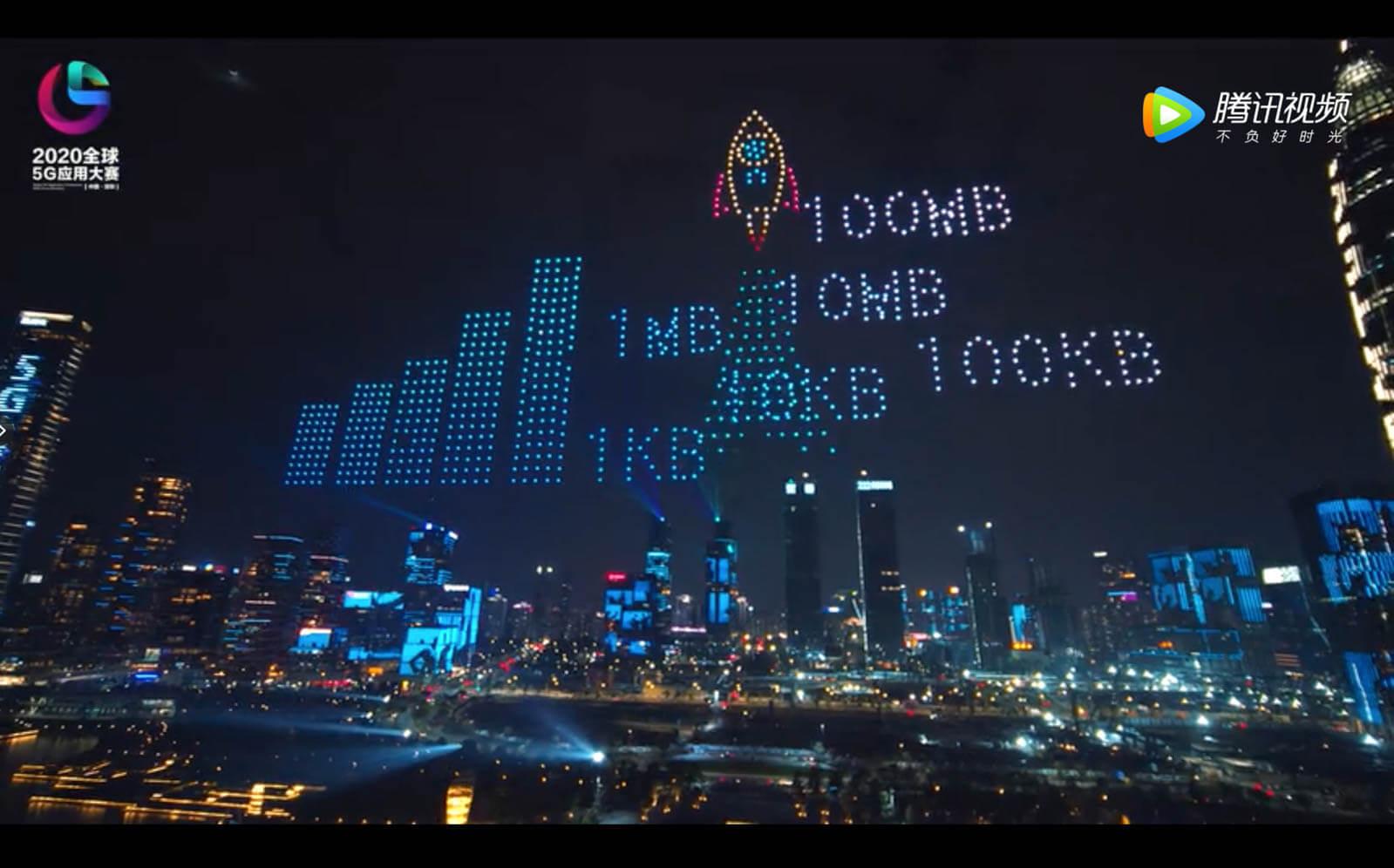 【深セン人才公園】1000機のドローンで「グローバル5Gアプリケーションコンペティション」告知ショー(12/20)