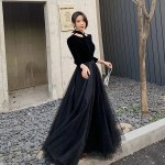 Retro Simple Long Black Tulle With Velvet Party Dress Long Sleeves 91 49 Am79008 Sheprom Com