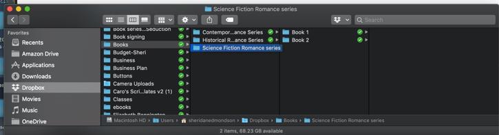 A screenshot showing how Sheridan Jeane's files are organized.