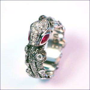 rubies, diamonds and white gold engagement ring