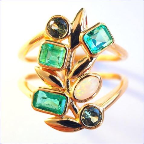 22ct gold ring reusing stones from old jewellery