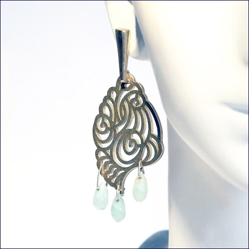 Vision Cloud silver earrings with amazonite