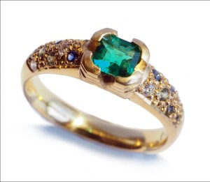 18ct gold, emerald, sapphire and diamond engagement ring