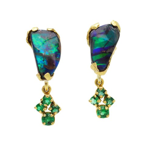 18 carat gold Boulder Opal earrings