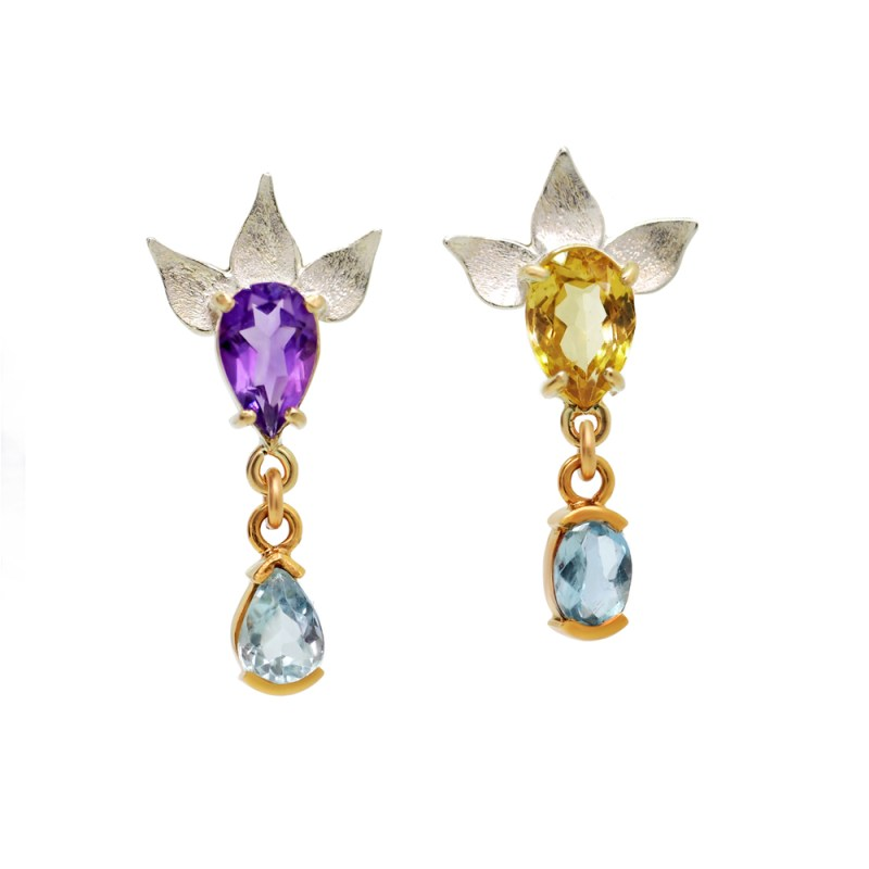Amethyst and citrine earrings