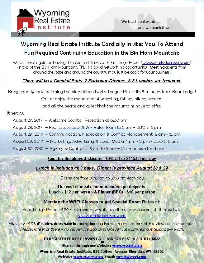 Required Continuing Education classes at Bear Lodge
