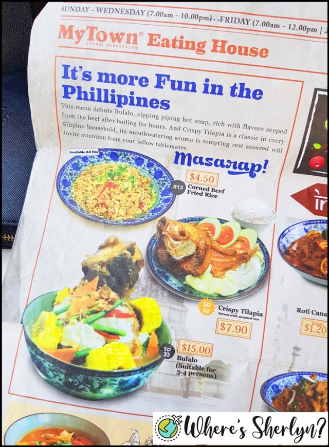 Brunei Restaurants: The Filipino food section at the My Town Brunei menu. Yum!