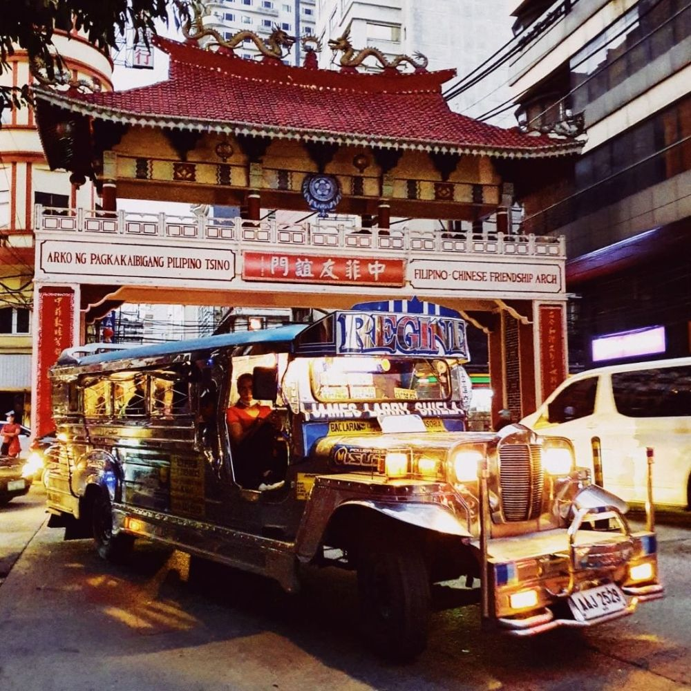 A jeepney at the Filipino-Chinese Friendship Arch in Binondo District (Chinatown), Manila
