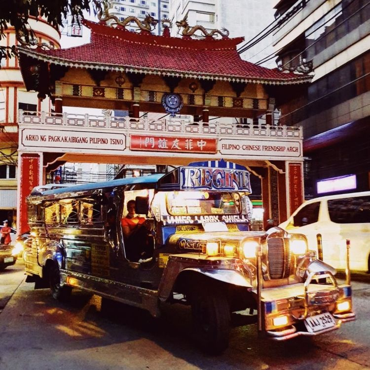 A jeepney at the Filipino-Chinese Friendship Arch in Binondo District (Chinatown), Manila