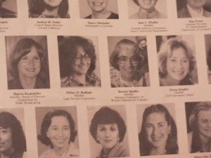 "Title IX ""godmother"" Bernice Sandler pictured next to a young Hillary Clinton in a Carter Administration poster of female appointees."
