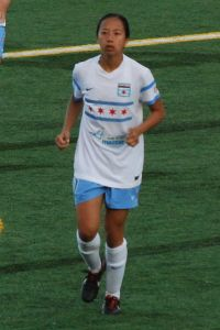 Former Stanford soccer player Rachel Quon, playing pro soccer in 2014 (Courtesy Wikimedia/Headlocker/Creative Commons 2.0)