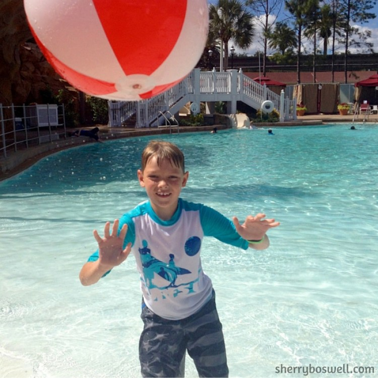 Making a splash in the pool at Grand Floridian Resort and Spa.