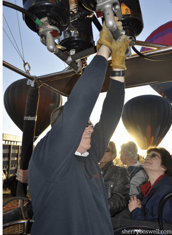 Tommy at the helm of our Hot Air Expeditions balloon