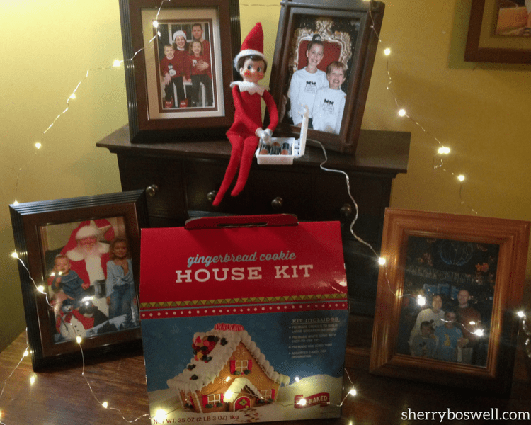 Elf on the shelf for older kids works really well when he brings gifts like our gingerbread house kit.