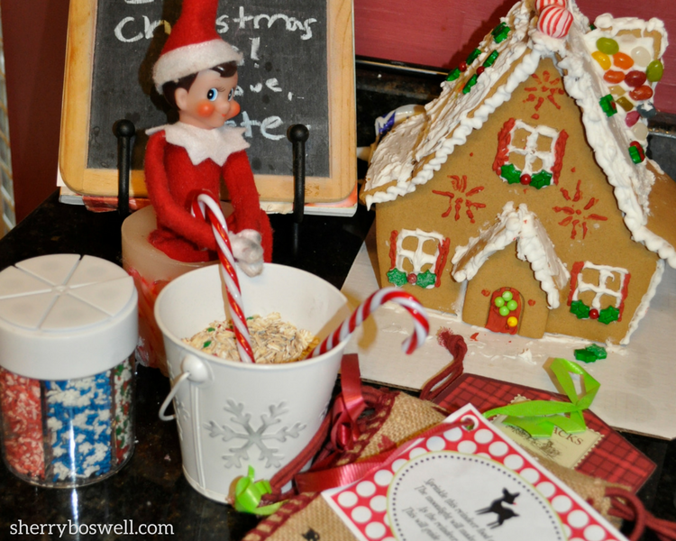 Elf on the shelf for older kids means creativity and not stressing out about the elf's shenanigans: have your elf help with decorating and making reindeer food.