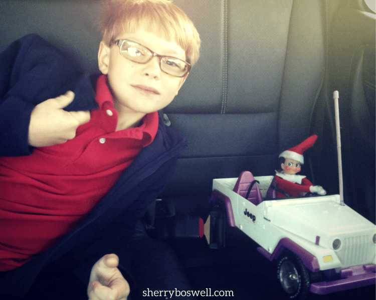 Even the Elf on the Shelf loves a Barbie Jeep! Incorporating the older kids' ideas for the elf keeps them involved and in on the fun.