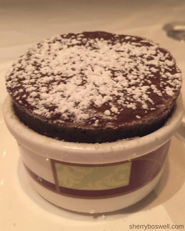 Palo dinner chocolate souffle
