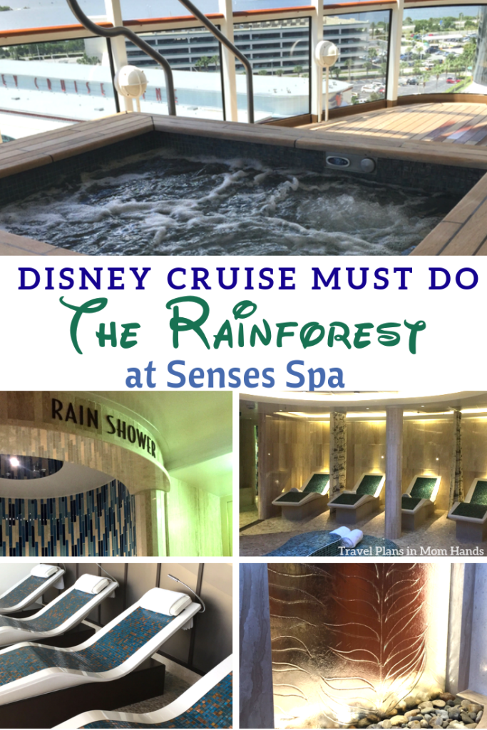 Part of the Senses Spa, the Rainforest is a must do on Disney Cruise Line. Entrance fountain sets the tone for relaxation. Pure bliss! Day passes and length of cruise passes available on all 4 Disney cruise ships, the Disney Dream, Disney Fantasy, Disney Wonder, and Disney Magic. #rainforest #disneycruise #sensesspa #disneycruiseline #spa