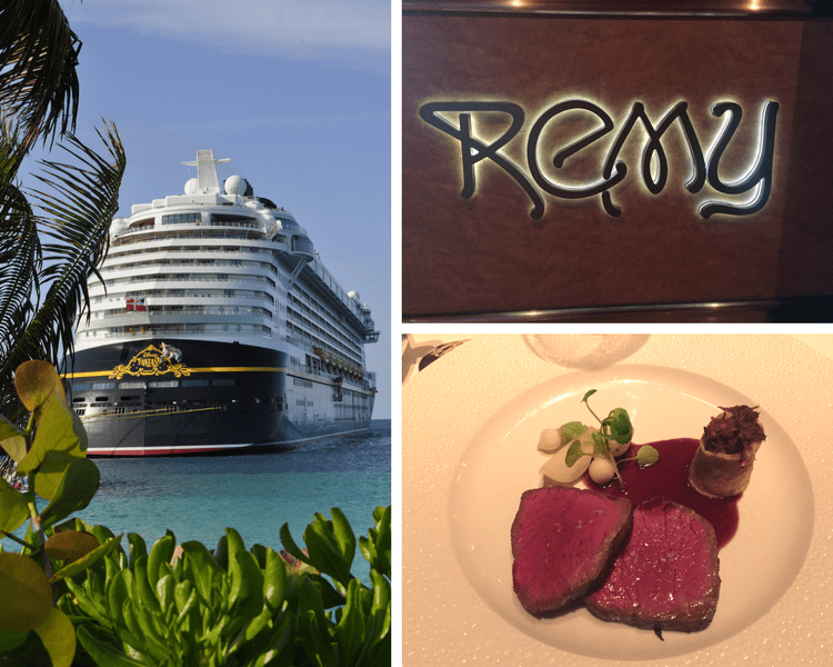 dine at Remy on your Disney cruise collage of food, ship and sign