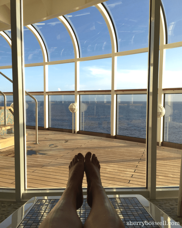 Disney Cruise Spa | Rain Forest heated stone loungers on the Disney Dream have ocean views for days