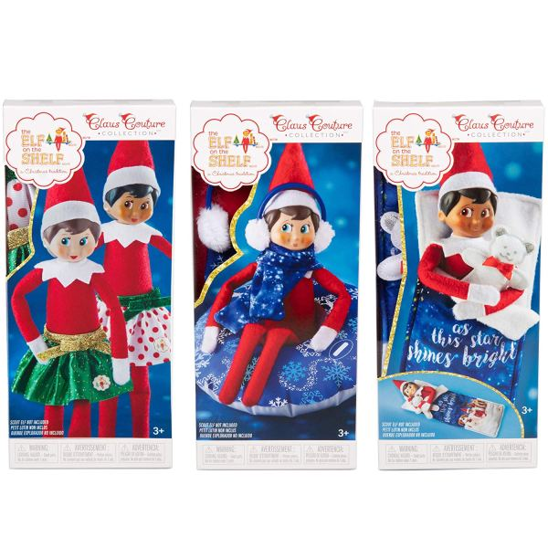 Elf on the Shelf outfits and accessories may keep older kids interested with the elf like these holiday skirts and slumber party pack.