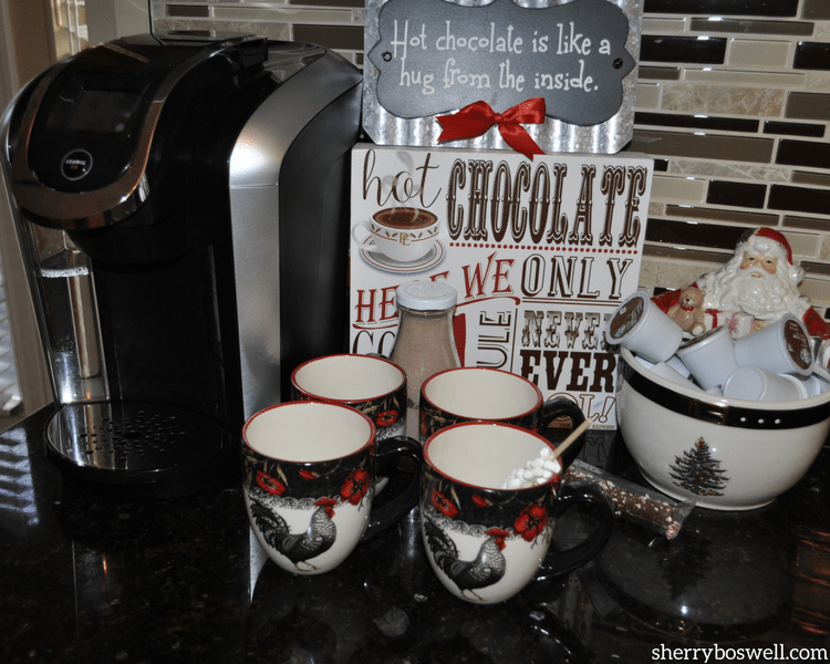 Bringing Joy to the table with Cracker Barrel includes all of the house, especially with this hot cocoa station and rooster mugs